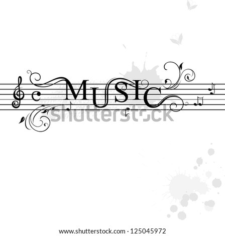 Typography music banner - stock vector