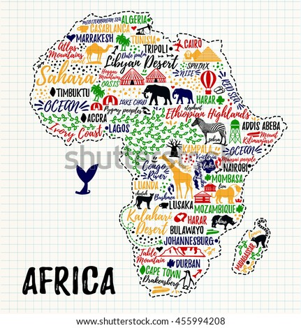 Typography poster africa map africa travel vectores en stock africa map africa travel guide gumiabroncs Images