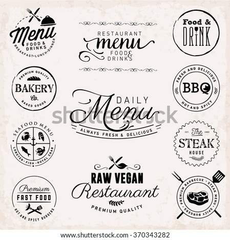 Typography Restaurant Menu Elements and Food and Drink Menu Badges - stock vector