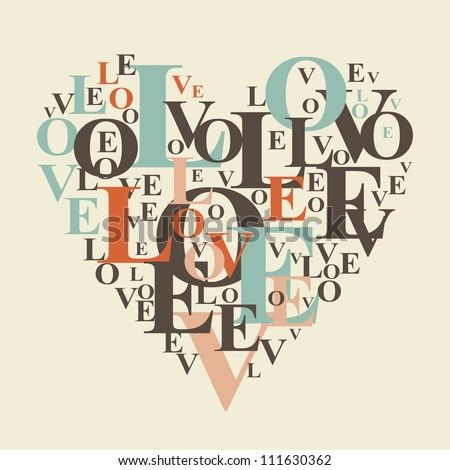 typography retro love heart - stock vector