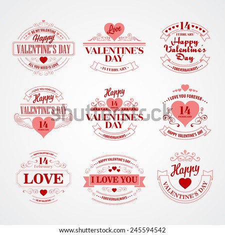 Typography Valentine's Day Vector illustration - stock vector