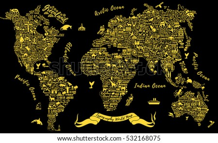Typography world map travel poster cities stock vector 2018 typography world map travel poster with cities and sightseeing attractions inspirational vector illustration gumiabroncs