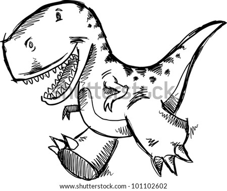 Tyrannosaurus Dinosaur Doodle Sketch Vector Illustration Art - stock vector