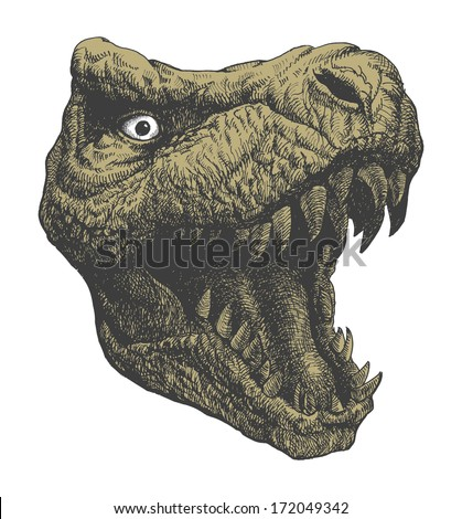 Tyrannosaurus Dinosaur . Hand drawn. Vector eps 8 - stock vector