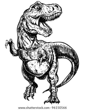 Tyrannosaurus Dinosaur Vector Linework Illustration - stock vector