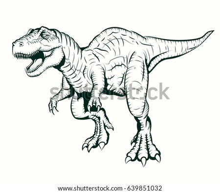 Tyrannosaurus Rex Illustration Coloring Book Vector de ...