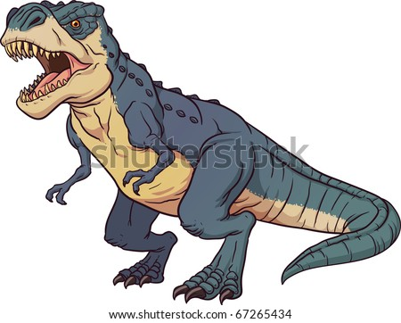 Tyrannosaurus Rex roaring. Vector illustration with simple gradients. All elements in a single layer. - stock vector