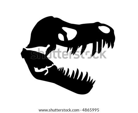 Tyrannosaurus rex skull fossil - stock vector