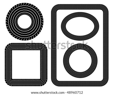 Tyre tread print borders - stock vector