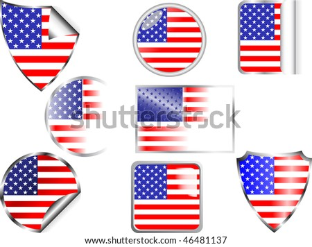 U S A flags set