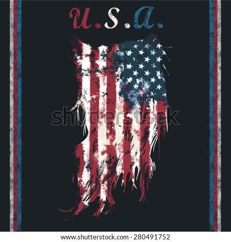 u.s.a ripped flag fashion tee shirt graphic design - stock vector
