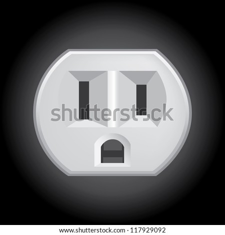 U.S. electric household outlet isolated - illustration - stock vector