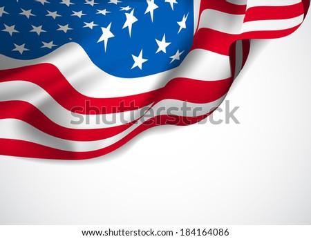 U.S. flag on a white background. Vector illustration - stock vector