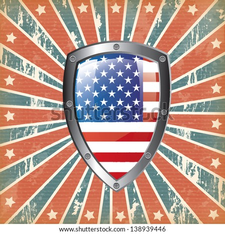 U.S shield over flag background vector illustration - stock vector