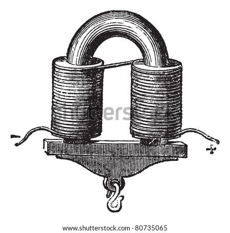 U-shaped Electromagnet, vintage engraved illustration. Trousset encyclopedia (1886 - 1891). - stock vector