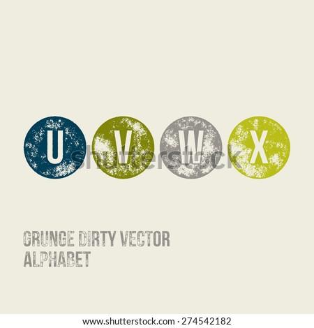 U V W X Grunge Retro Circular Stamp Type - Vector Alphabet - Font - stock vector