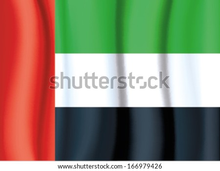 UAE FLAG,United Arab Emirates flag satin curtain wave flag VECTOR - stock vector