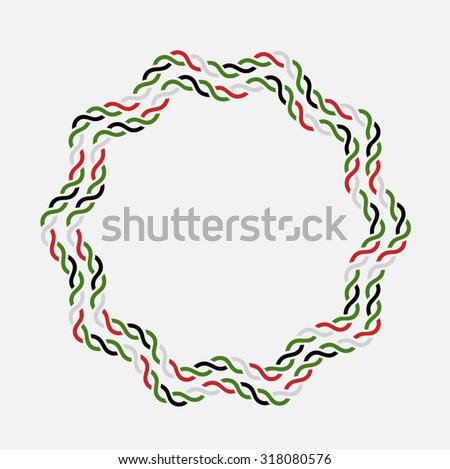 UAE National day celebration. Round rope shape vector border made with UAE flag colors. - stock vector