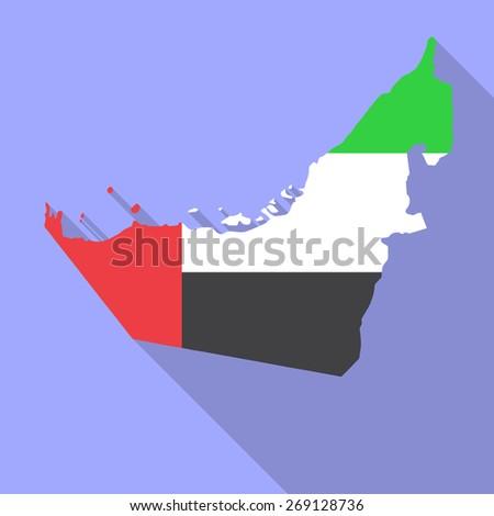 UAE,United Arab Emirates flag,map flat icon with long shadow. Vector illustration EPS10 - stock vector