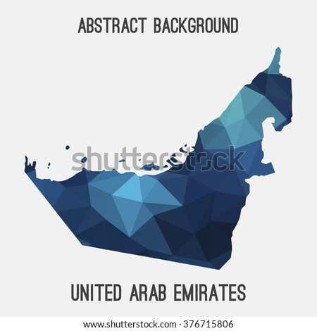 UAE,United Arab Emirates map in geometric polygonal style.Abstract tessellation,modern design background.Vector illustration  - stock vector