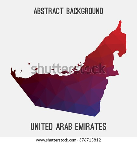 UAE,United Arab Emirates map in geometric polygonal style.Abstract tessellation,modern design background.Vector illustration .Modern style map of UAE.Triangle tessellation UAE map. UAE border - stock vector