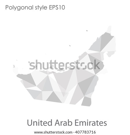 UAE,United Arab Emirates map in geometric polygonal style. Abstract triangle, modern design background - stock vector