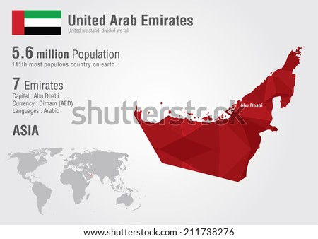 UAE United Arab Emirates world map with a pixel diamond texture. World geography. - stock vector