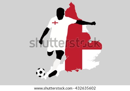 UEFA Euro 2016 vector illustration of football player run hit ball. Group B participant. Soccer team player in uniform with state national flag of England original colors. England map graphic clip art - stock vector