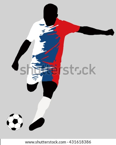 UEFA Euro 2016 vector illustration of football player run hit ball. Group D participant. Soccer team player in uniform with Czech Republic national flag original colors. Flat graphic design clip art - stock vector