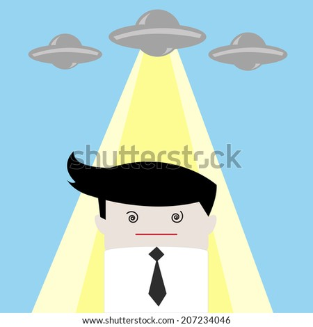 UFO abduction businessman - stock vector
