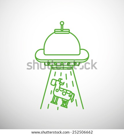 UFO abducts a cow, Line, vector - stock vector