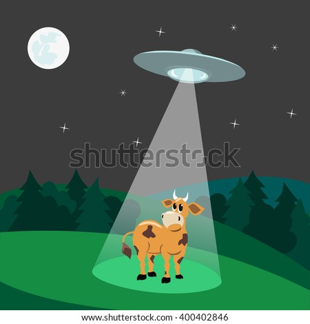 UFO abducts cow.Flying saucer beam picks up animal from earth planet. Illustration of alien invasion in unidentified spaceship with light. Idea for design on theme of ufo landing. Vector illustration - stock vector