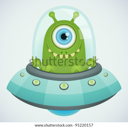 Ufo. Alien. - stock vector