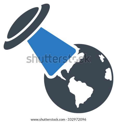 Ufo Explores Earth vector icon. Style is bicolor flat symbol, smooth blue colors, rounded angles, white background. - stock vector