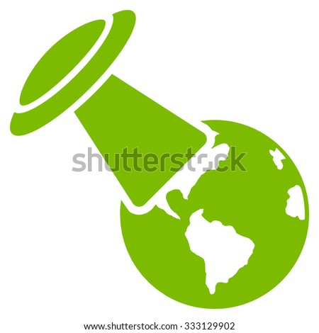 Ufo Explores Earth vector icon. Style is flat symbol, eco green color, rounded angles, white background. - stock vector