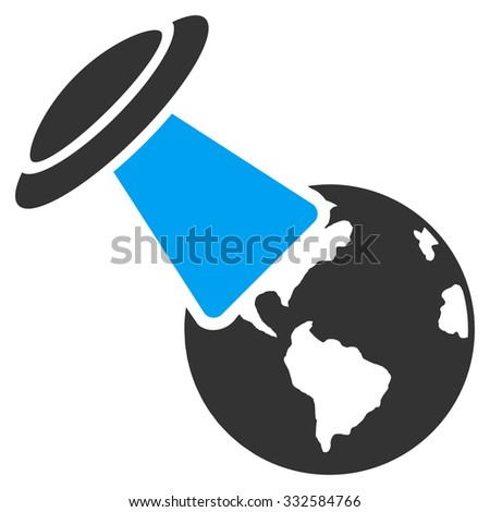 Ufo Explores Earth vector icon. Style is flat symbol, rounded angles, white background. - stock vector