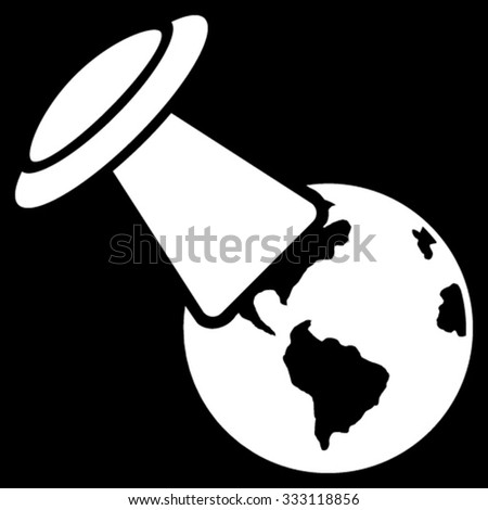 Ufo Explores Earth vector icon. Style is flat symbol, white color, rounded angles, black background. - stock vector