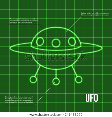 Ufo flying disc indicator on retro display vector illustration - stock vector
