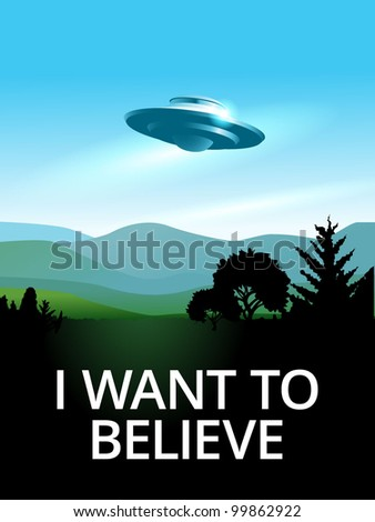 UFO hovering over a landscape, eps10 - stock vector