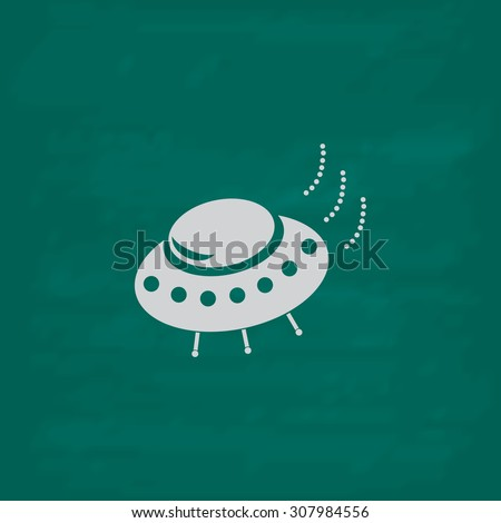 UFO. Icon. Imitation draw with white chalk on green chalkboard. Flat Pictogram and School board background. Vector illustration symbol - stock vector