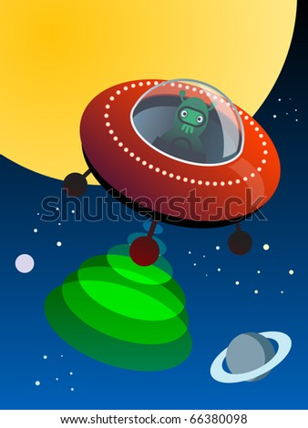 UFO in space, vector illustration - stock vector