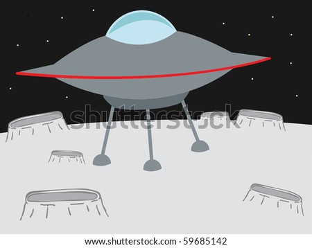 UFO landing on a crater like planet  editable vector illustration