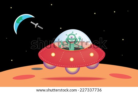 UFO landing on the surface of Mars - stock vector