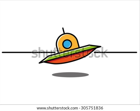 UFO landing with shadow - stock vector