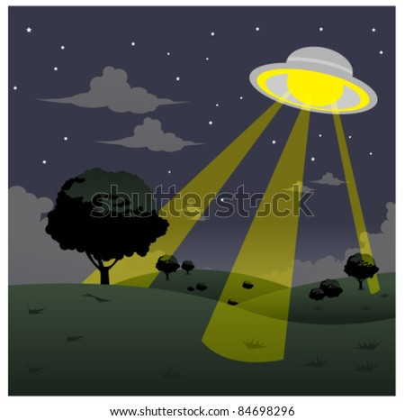 ufo on field - stock vector