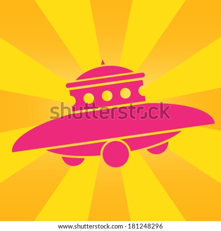 UFO Pop Art Icon - stock vector