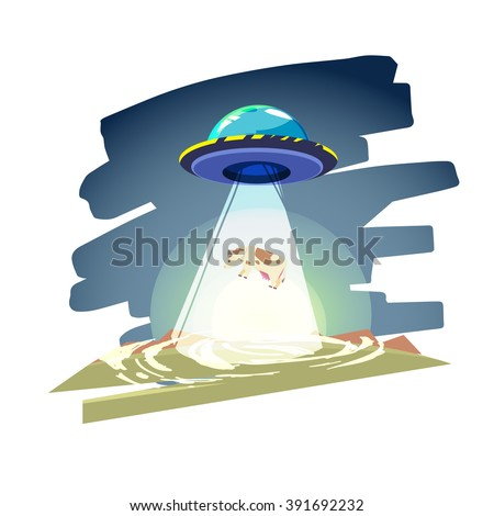 ufo spaceship with beam of light over the cow. Abduction - vector illustration - stock vector
