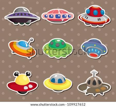 ufo stickers - stock vector