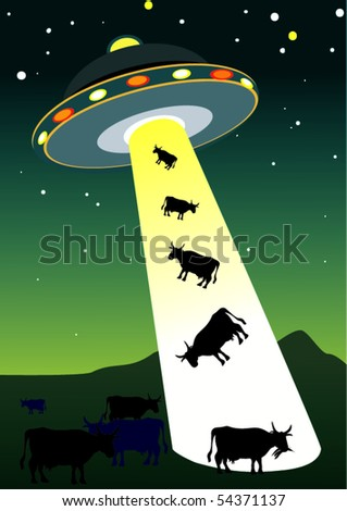 UFO taking cows away - stock vector