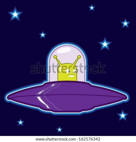 UFO with green alien cartoon - stock vector